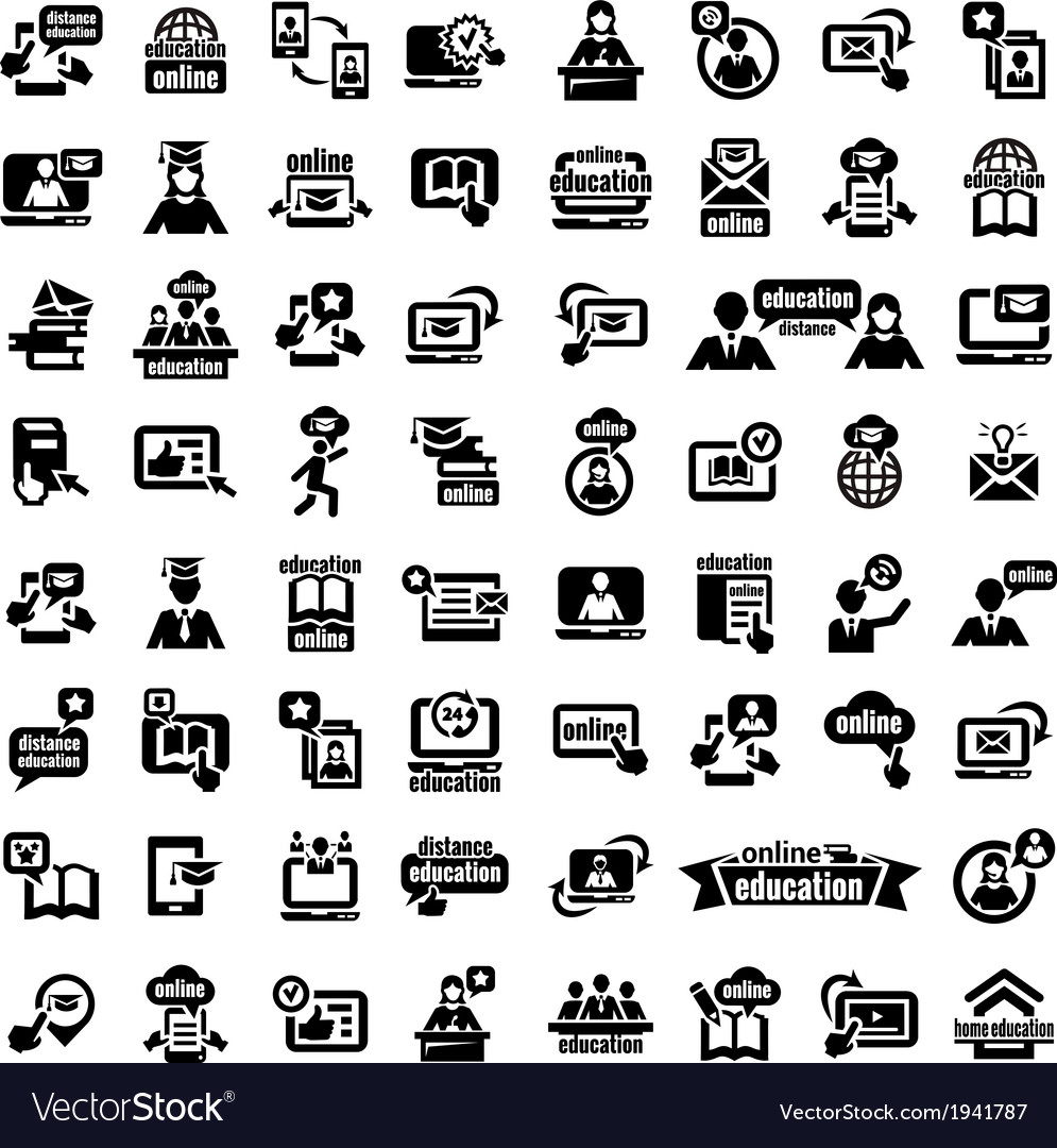 Big online education icons set vector | Price: 1 Credit (USD $1)