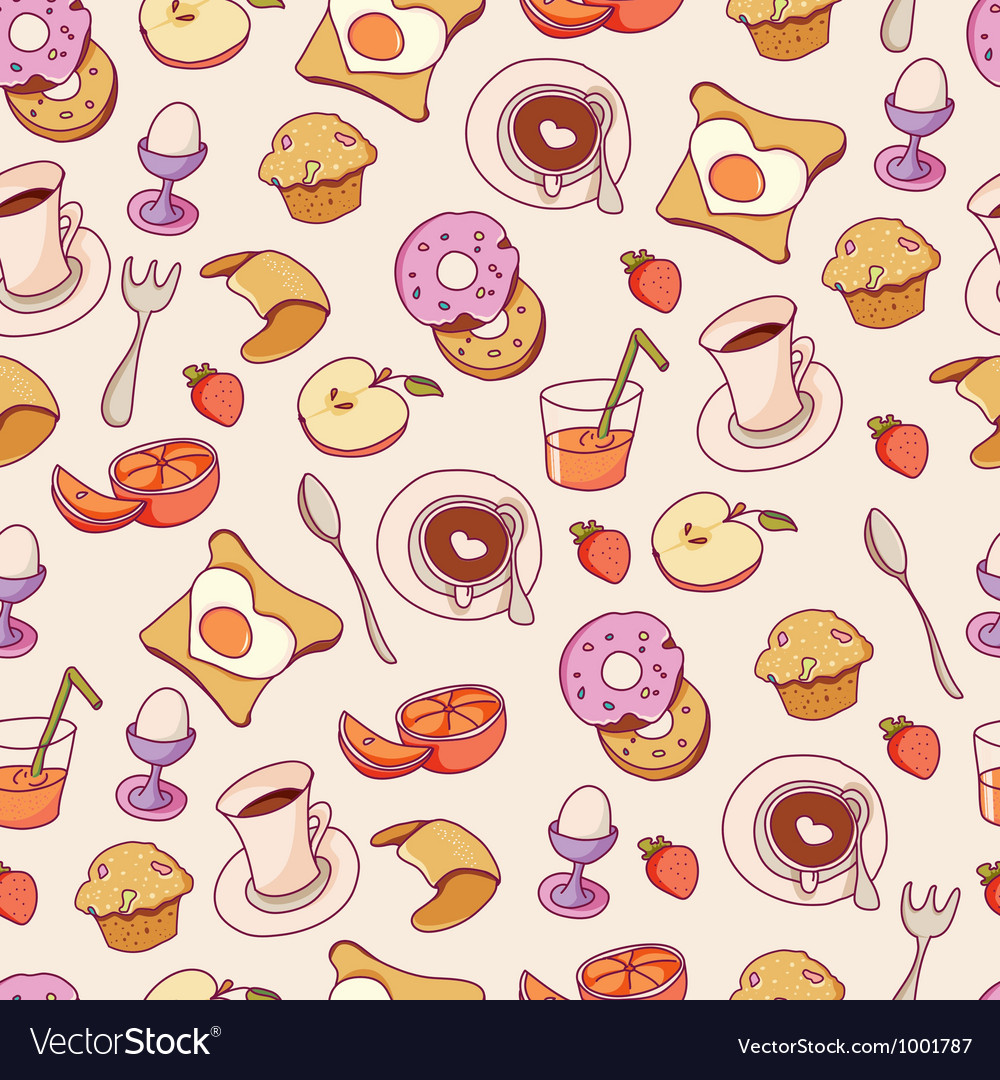 Breakfast pattern vector | Price: 1 Credit (USD $1)