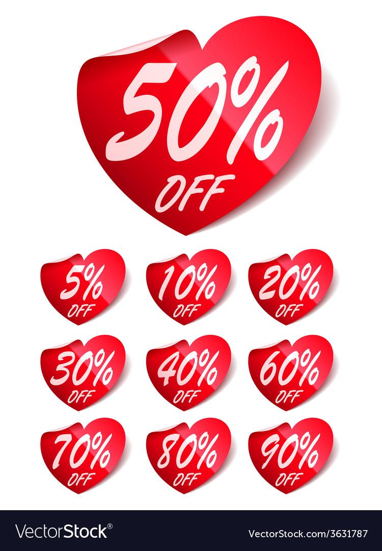 Heart sale labels vector