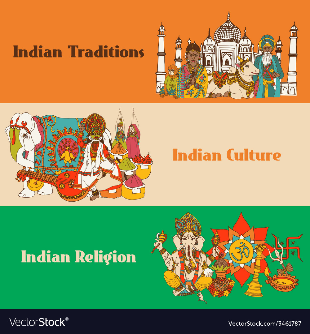 India sketch banners set vector | Price: 1 Credit (USD $1)