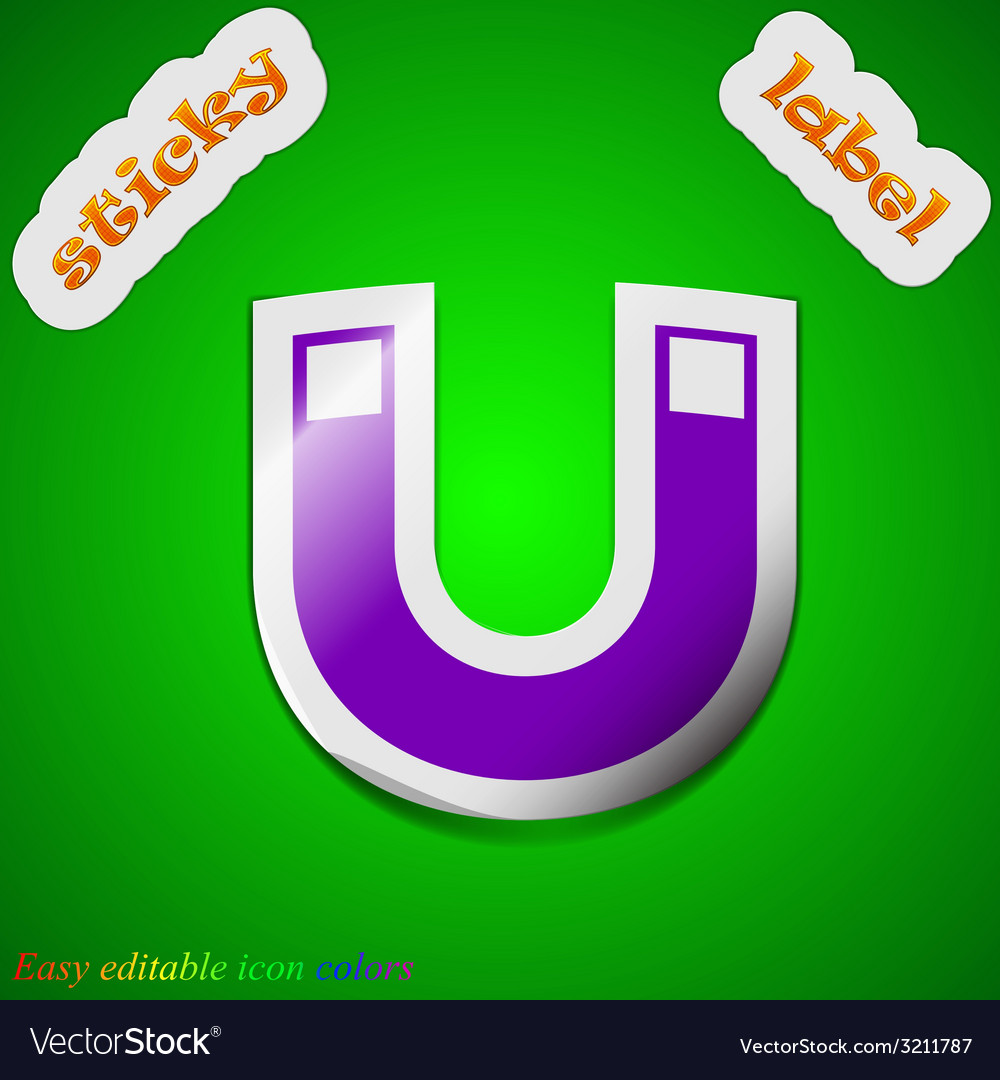Magnet icon sign symbol chic colored sticky label vector   Price: 1 Credit (USD $1)