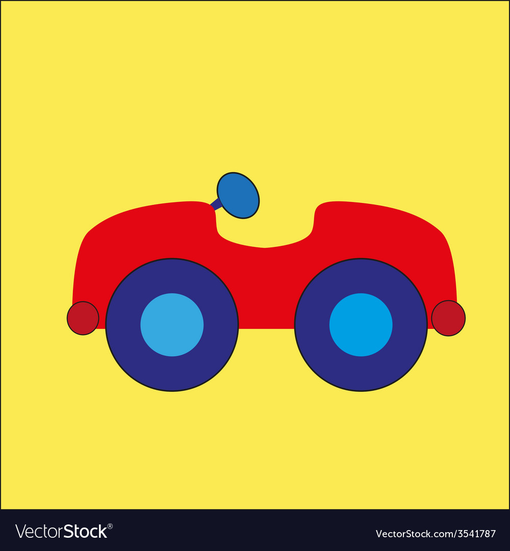 Red cartoon car on the yellow background vector | Price: 1 Credit (USD $1)