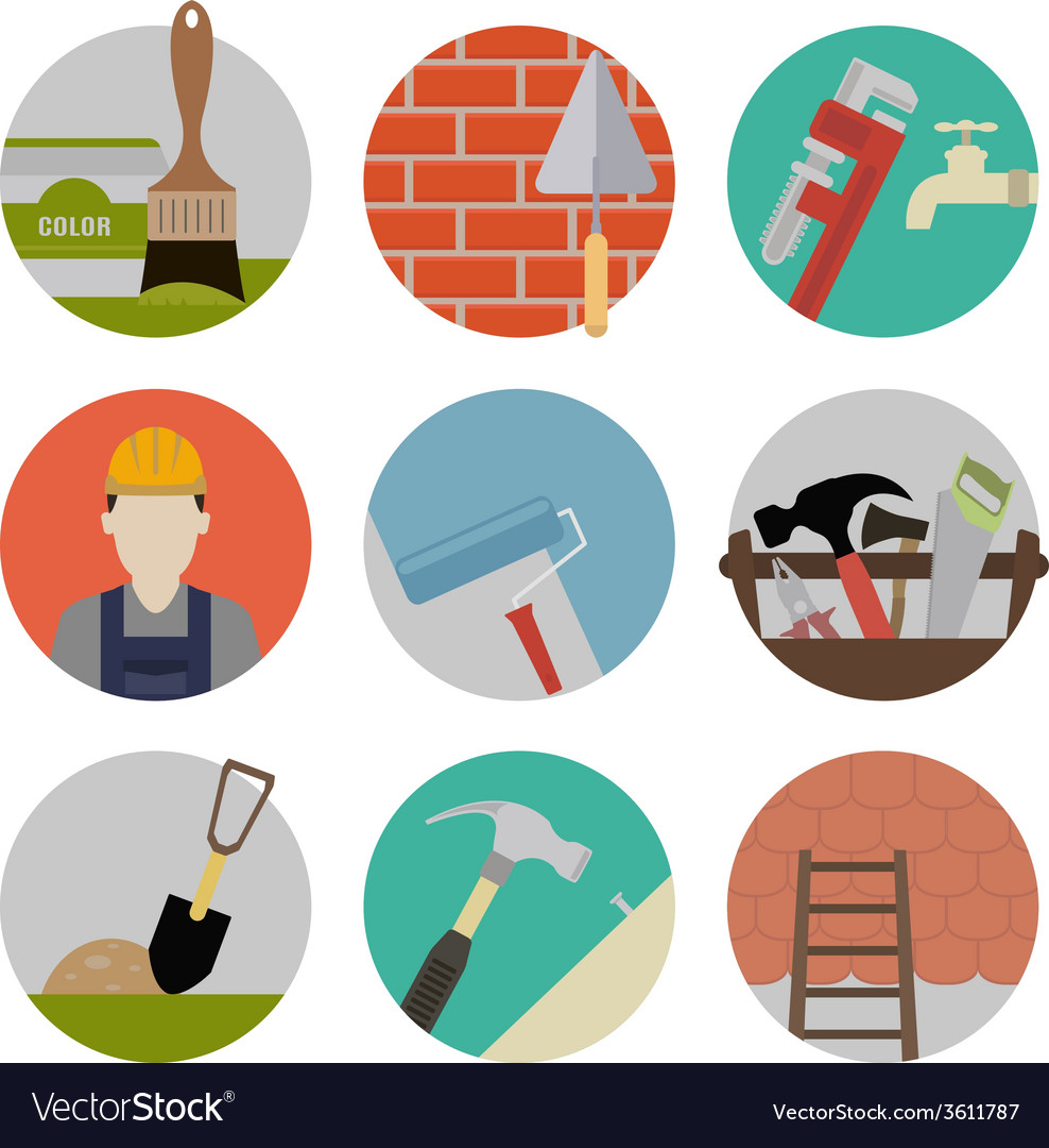 Repire flat icons vector   Price: 1 Credit (USD $1)