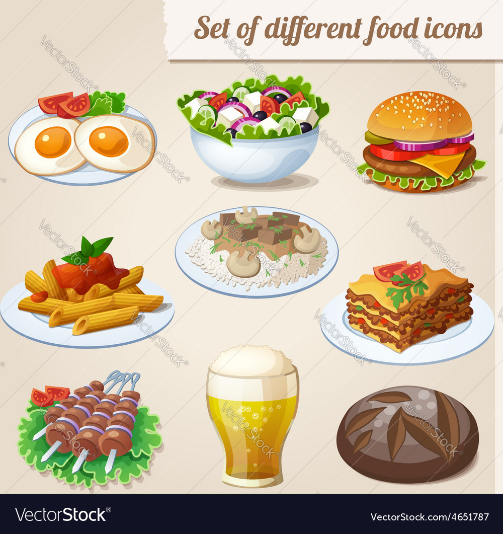 Set of different food icons vector | Price: 3 Credit (USD $3)
