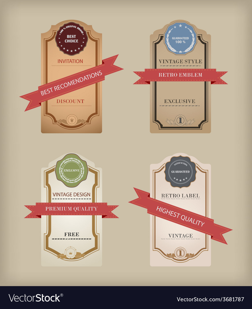 Set of labels with retro vintage styled design vector | Price: 1 Credit (USD $1)