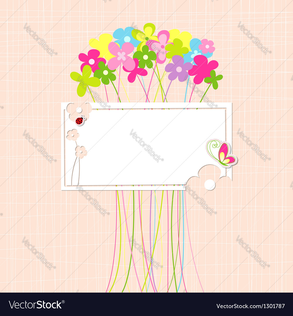 Springtime colorful flower and butterfly greeting vector | Price: 1 Credit (USD $1)