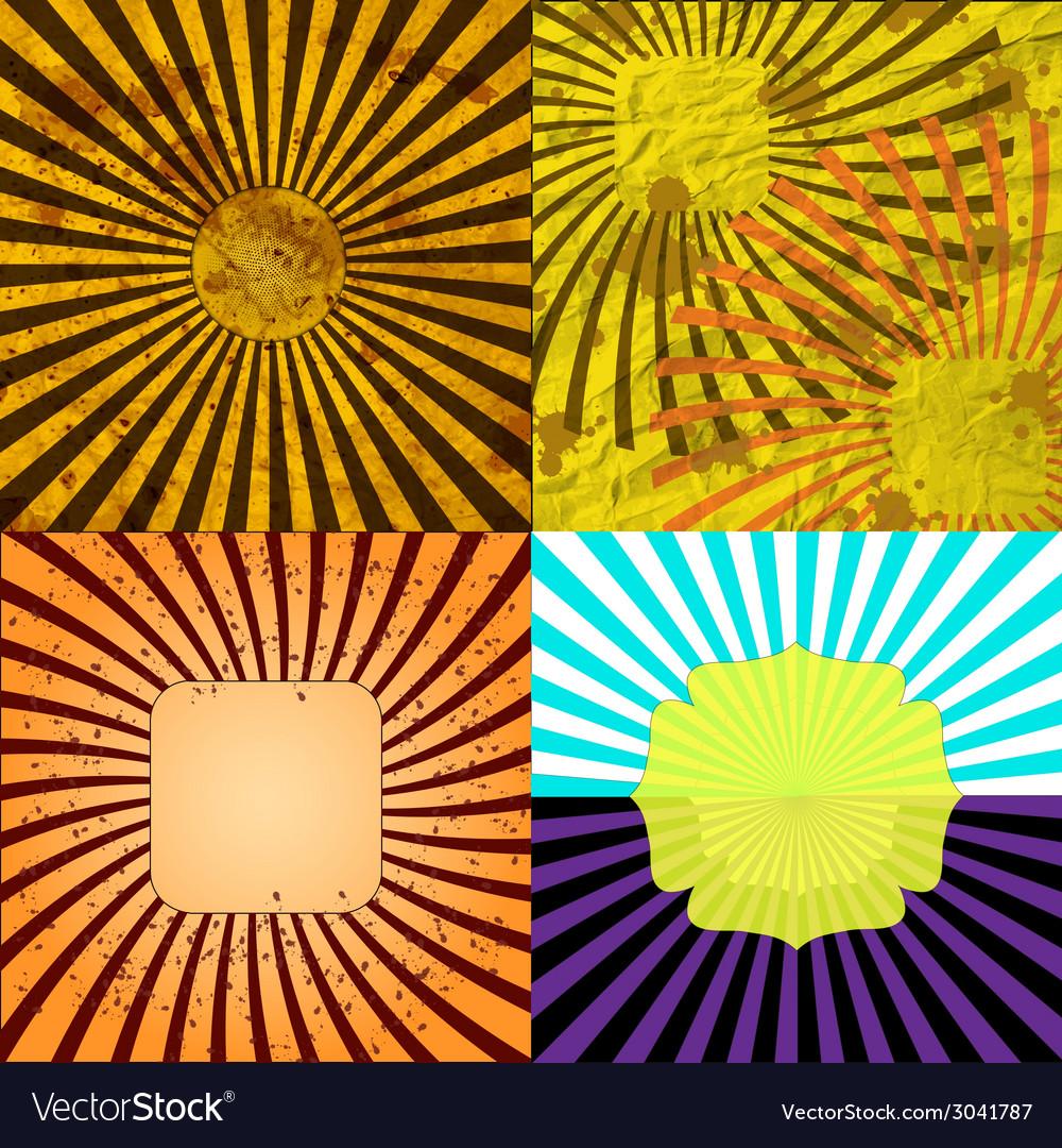Sunburst retro textured grunge background set vector | Price: 1 Credit (USD $1)