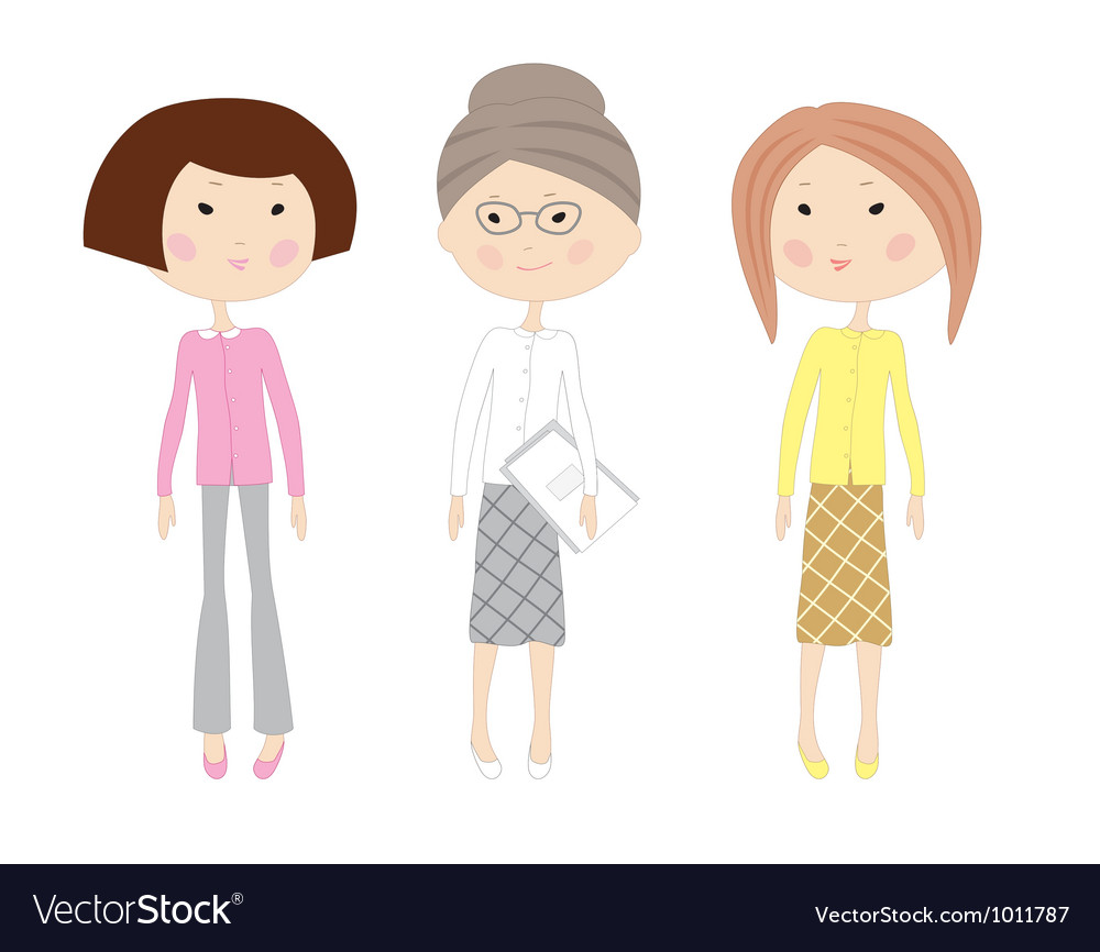 Three drawn cartoon business women vector | Price: 1 Credit (USD $1)