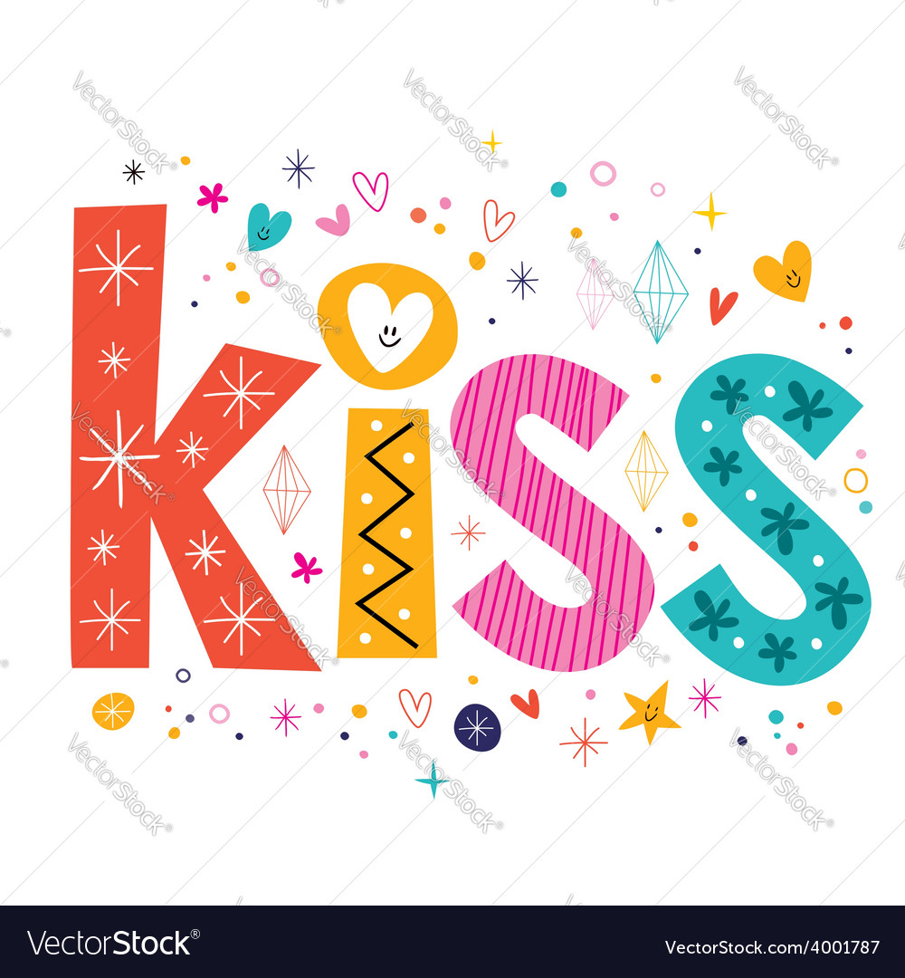 Word kiss lettering decorative text vector | Price: 1 Credit (USD $1)