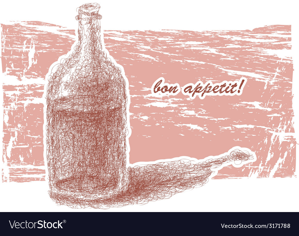 Bottle of wine hand-drawn eps8 vector | Price: 1 Credit (USD $1)