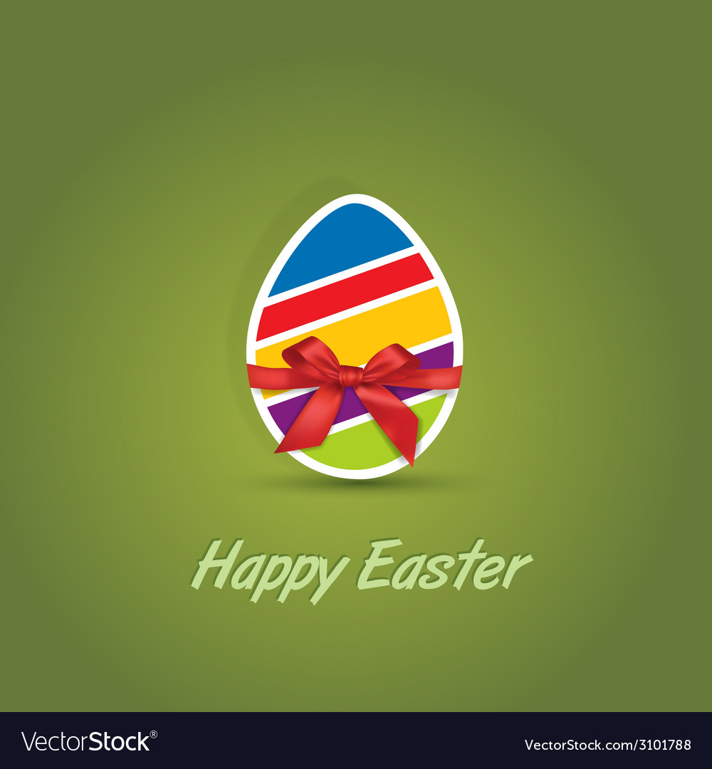 Easter eggs with bow ribbon gift vector | Price: 1 Credit (USD $1)
