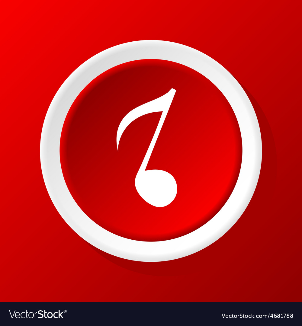 Eighth note icon on red vector | Price: 1 Credit (USD $1)