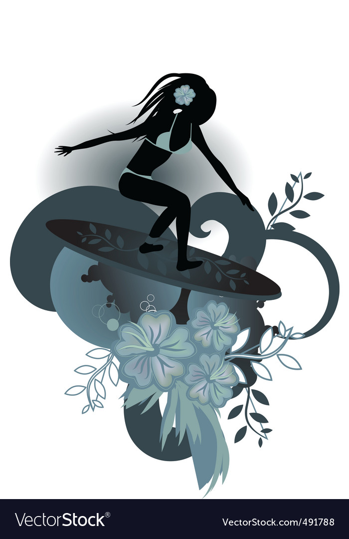 Girl surfer vector | Price: 1 Credit (USD $1)