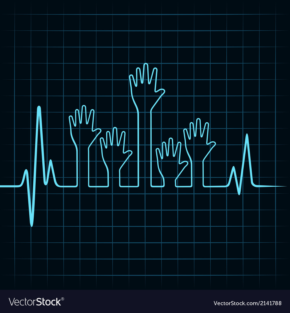 Heartbeat make multiple helping hand vector | Price: 1 Credit (USD $1)