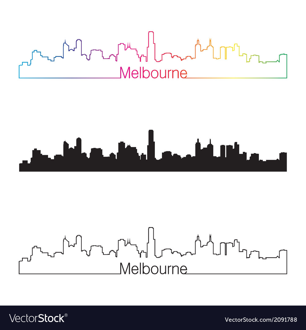 Melbourne skyline linear style with rainbow vector | Price: 1 Credit (USD $1)