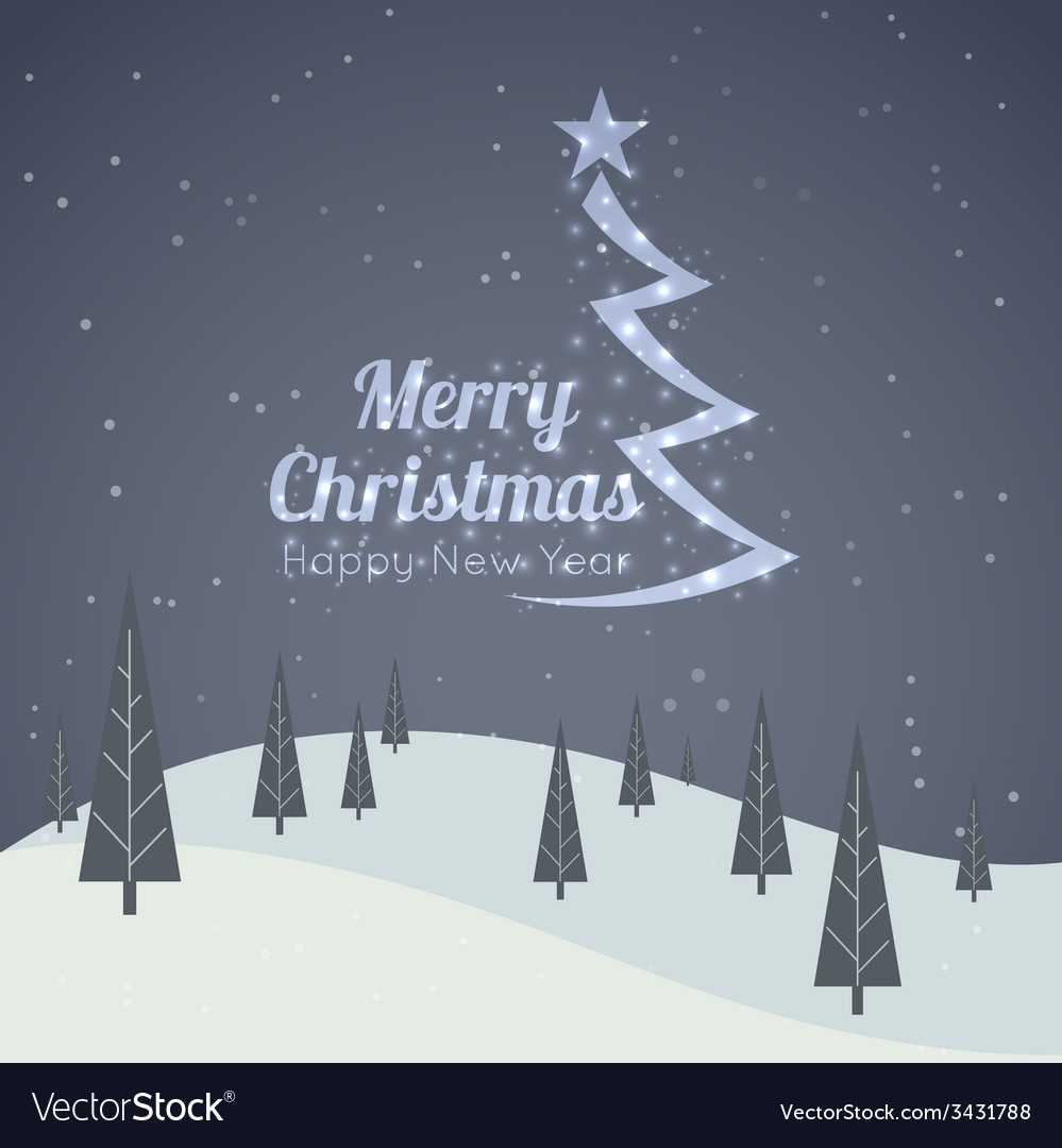 Merry christmas landscape vector | Price: 1 Credit (USD $1)