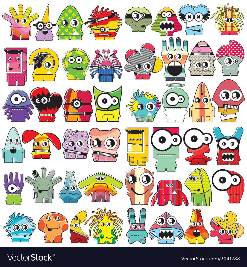 Monsters - set vector