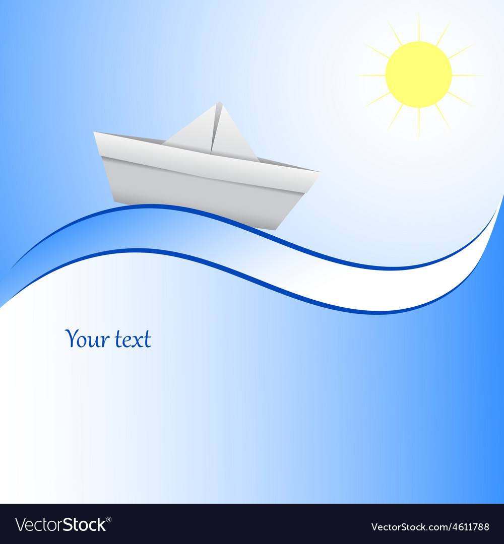 Paper boat in blue waves blue background vector | Price: 1 Credit (USD $1)