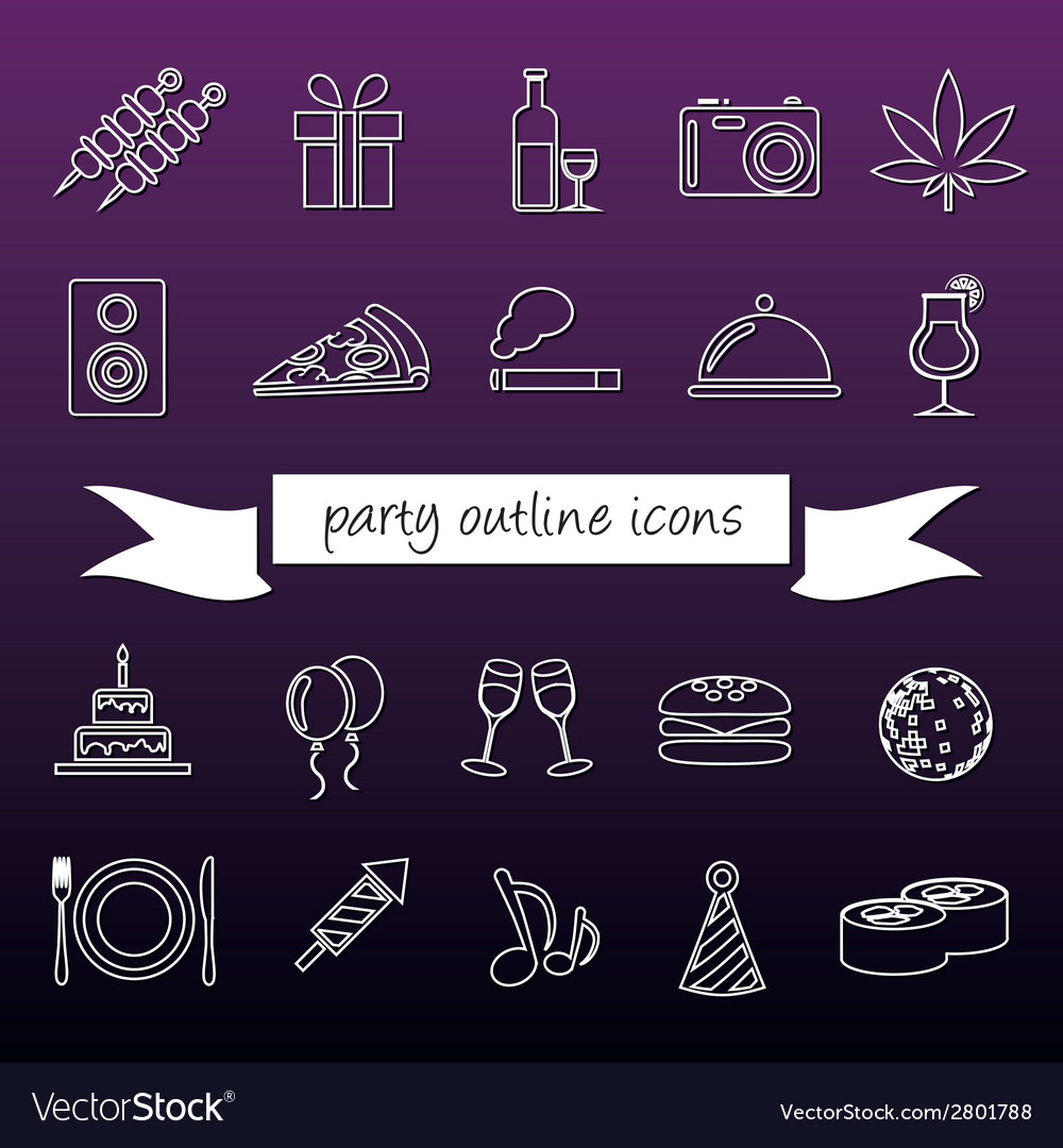 Party outline icons vector | Price: 1 Credit (USD $1)