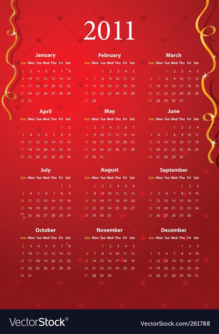 Red calendar 2011 vector   Price: 1 Credit (USD $1)