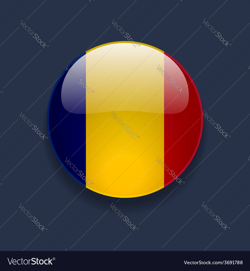 Round icon with flag of romania vector | Price: 1 Credit (USD $1)