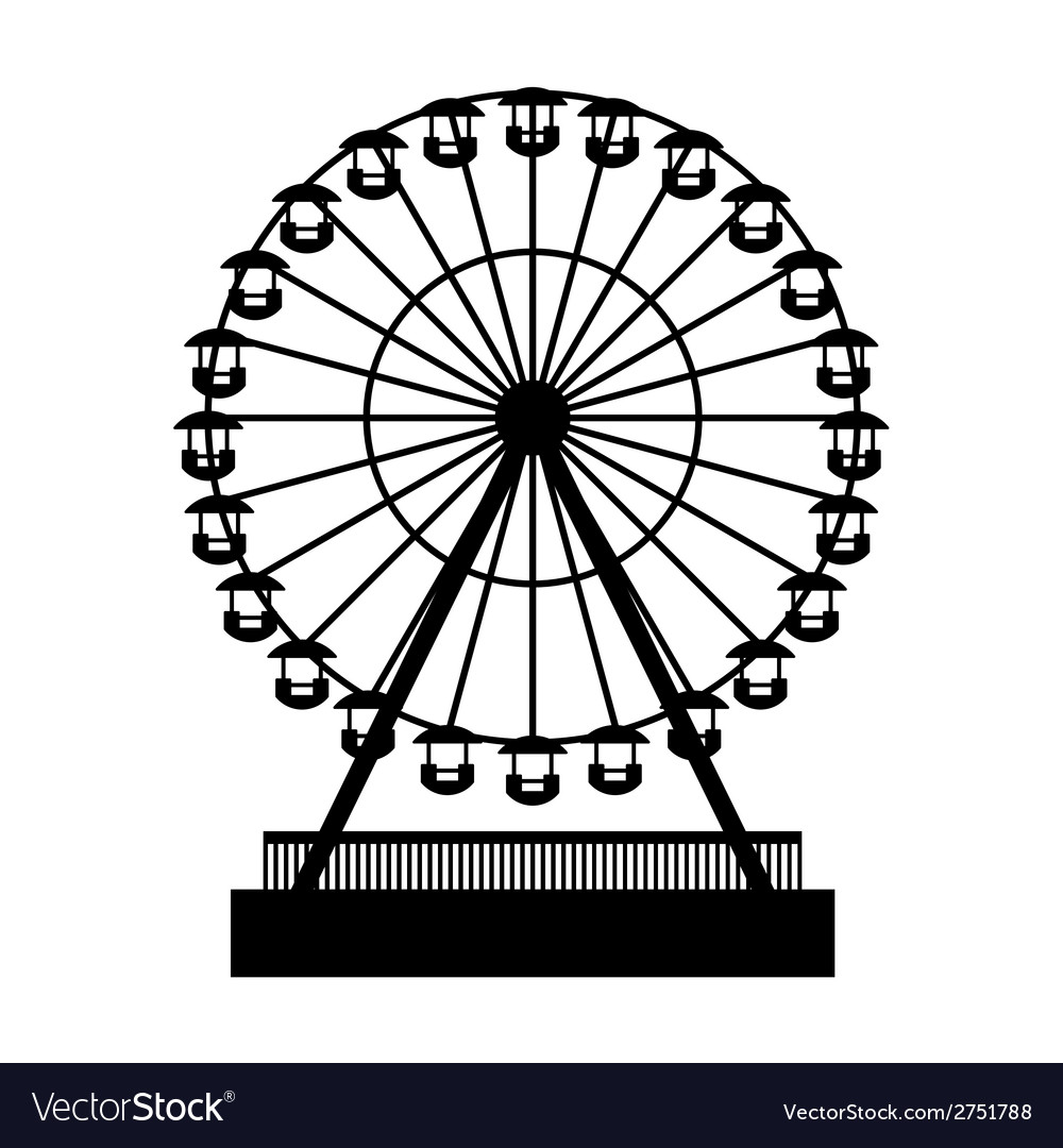 Silhouette park atraktsion ferris wheel vector | Price: 1 Credit (USD $1)