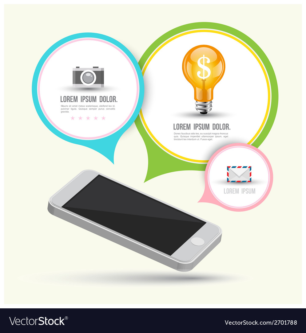 Smartphone with speech and icons vector | Price: 1 Credit (USD $1)