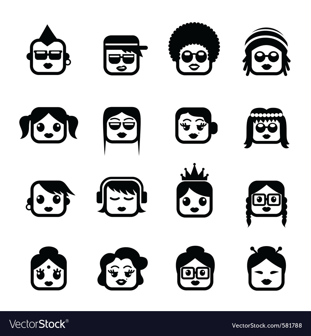 Smiley faces woman characters vector | Price: 1 Credit (USD $1)