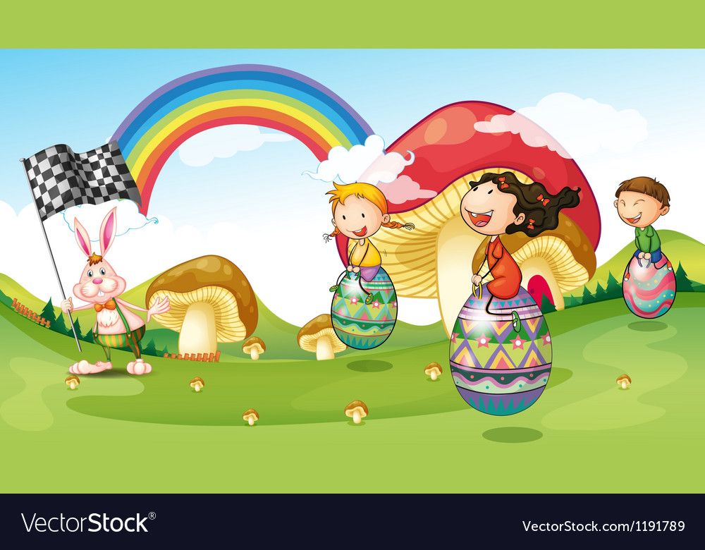 A bunny and kids with easter eggs vector | Price: 1 Credit (USD $1)
