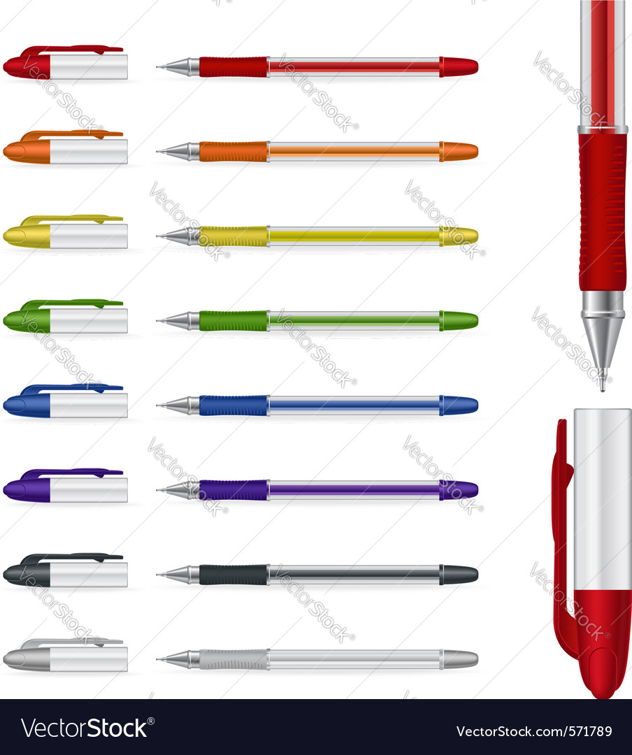 Ballpoint pens set vector | Price: 1 Credit (USD $1)