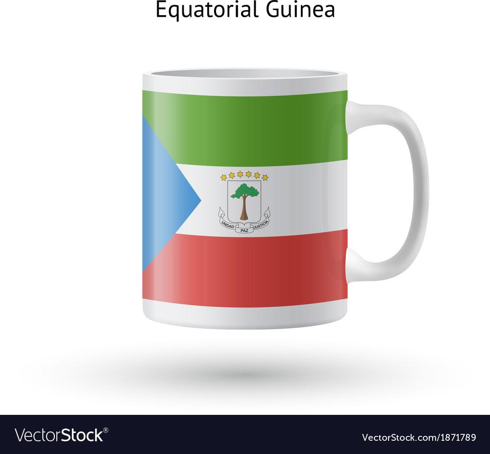 Equatorial guinea flag souvenir mug on white vector | Price: 1 Credit (USD $1)