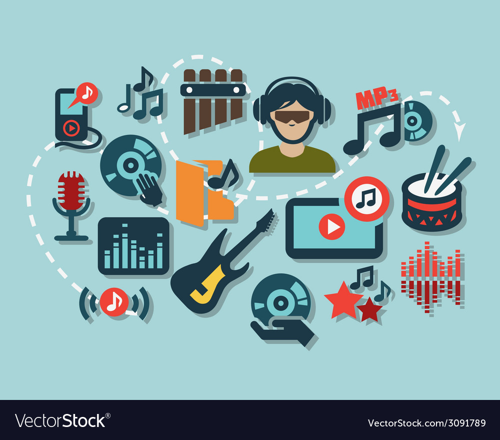 Flat music icons vector | Price: 1 Credit (USD $1)