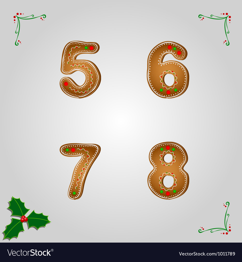 Gingerbread numbers 5 to 8 vector | Price: 1 Credit (USD $1)