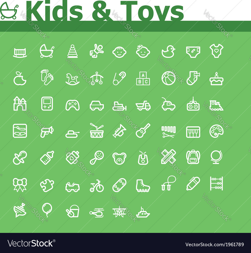 Kids and toys icon set vector | Price: 1 Credit (USD $1)