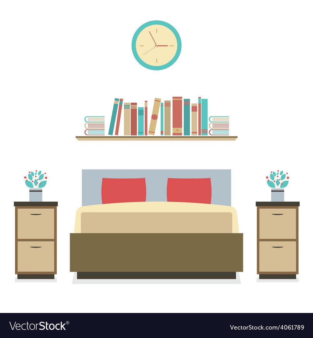Modern flat design bedroom vector | Price: 1 Credit (USD $1)