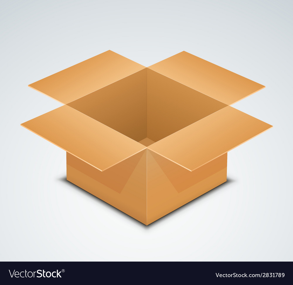 Open box recycle brown paper box packaging vector | Price: 1 Credit (USD $1)