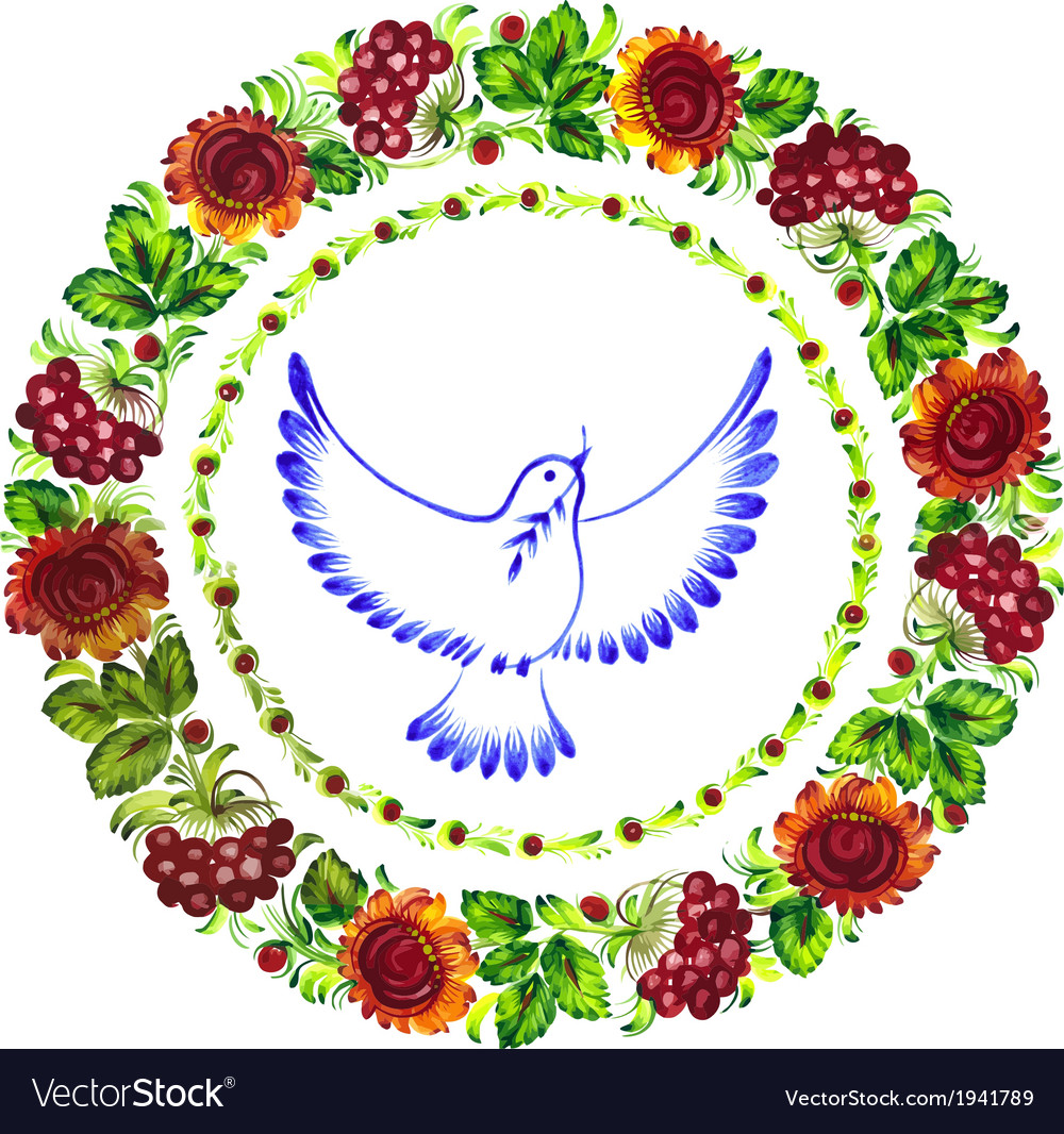 Pigeon peace decorative circlet of flowers vector | Price: 1 Credit (USD $1)