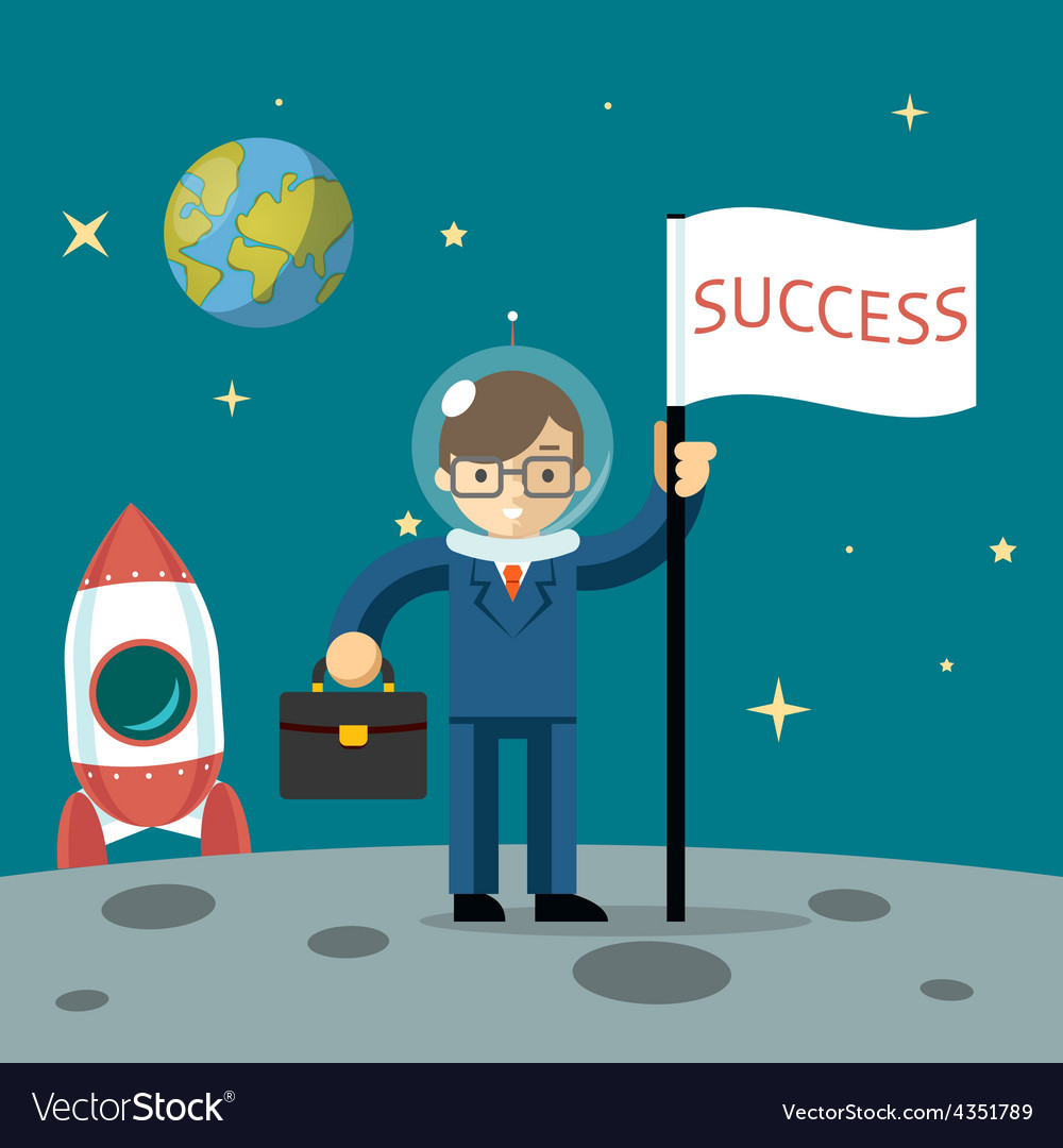 Successful businessman gets the moon vector | Price: 1 Credit (USD $1)