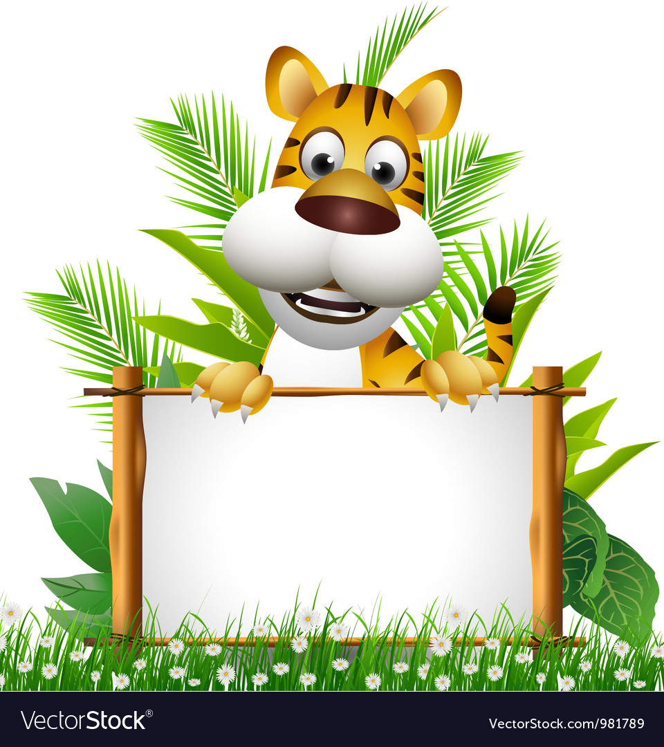 Tiger cartoon with blank sign vector | Price: 3 Credit (USD $3)