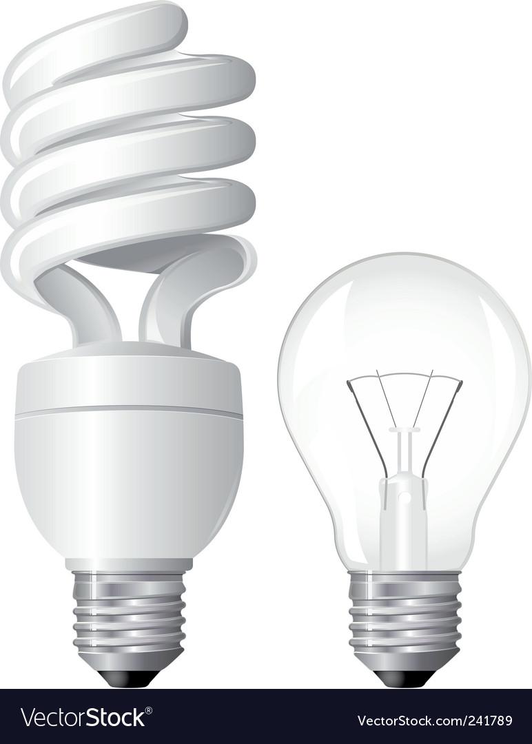 Two light bulbs vector | Price: 1 Credit (USD $1)