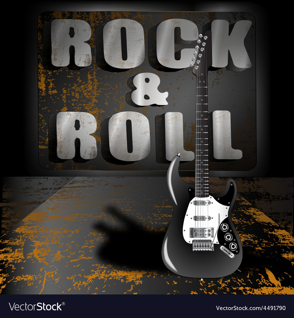 An electric guitar on a metal background vector | Price: 3 Credit (USD $3)