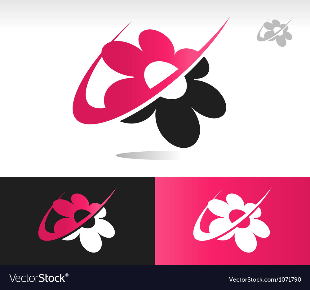 Flower swoosh icons vector | Price: 1 Credit (USD $1)