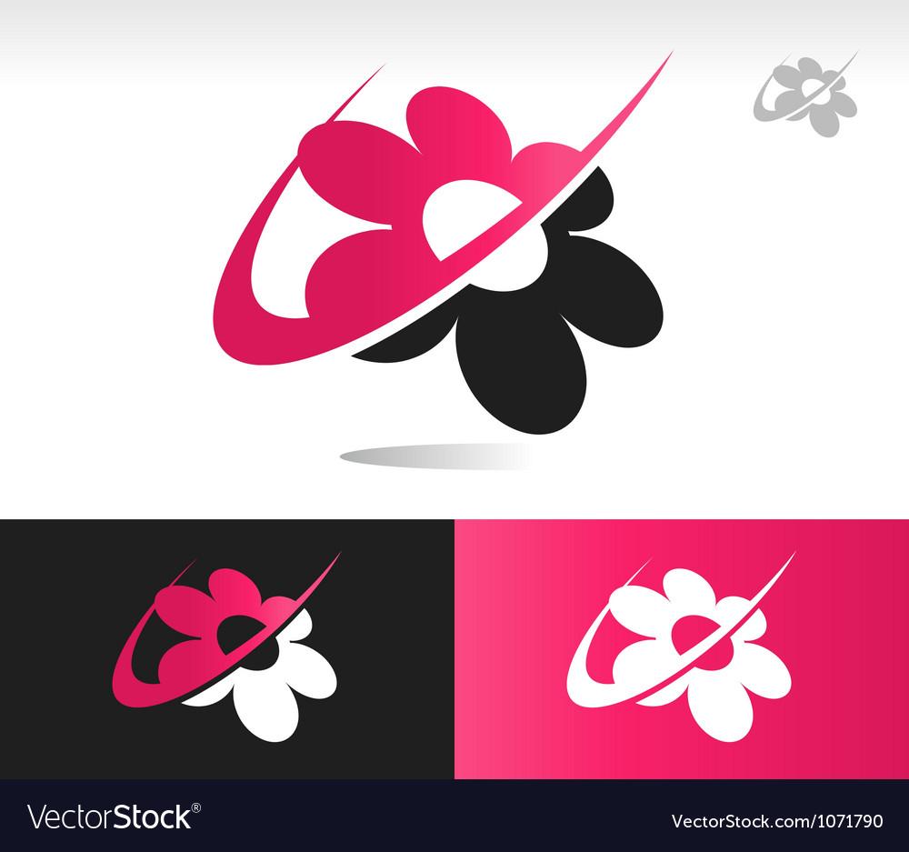 Flower swoosh logo icons vector | Price: 1 Credit (USD $1)