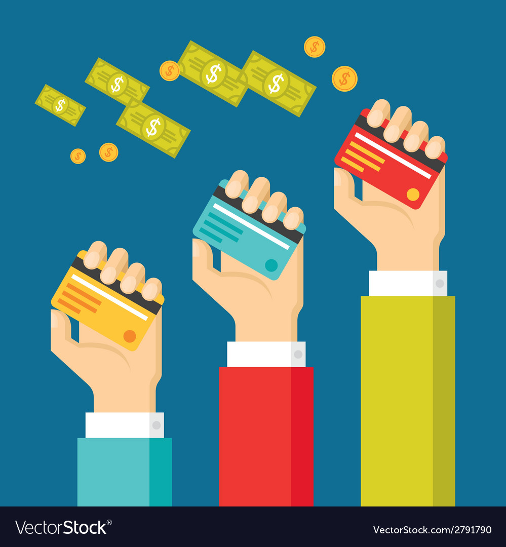 Human hands with cards and dollars money vector | Price: 1 Credit (USD $1)