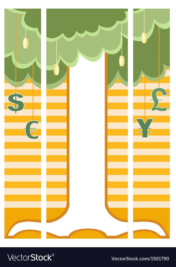 Money tree on triple banner vector | Price: 1 Credit (USD $1)