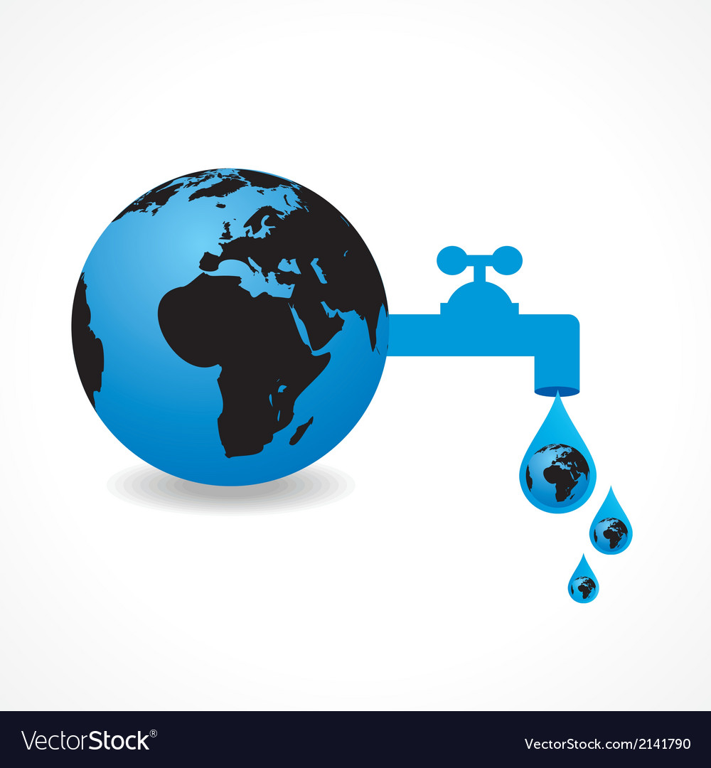 Save water concept with earth vector | Price: 1 Credit (USD $1)