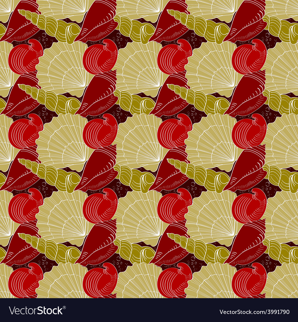 Seashells seamless pattern red gold white vector | Price: 1 Credit (USD $1)