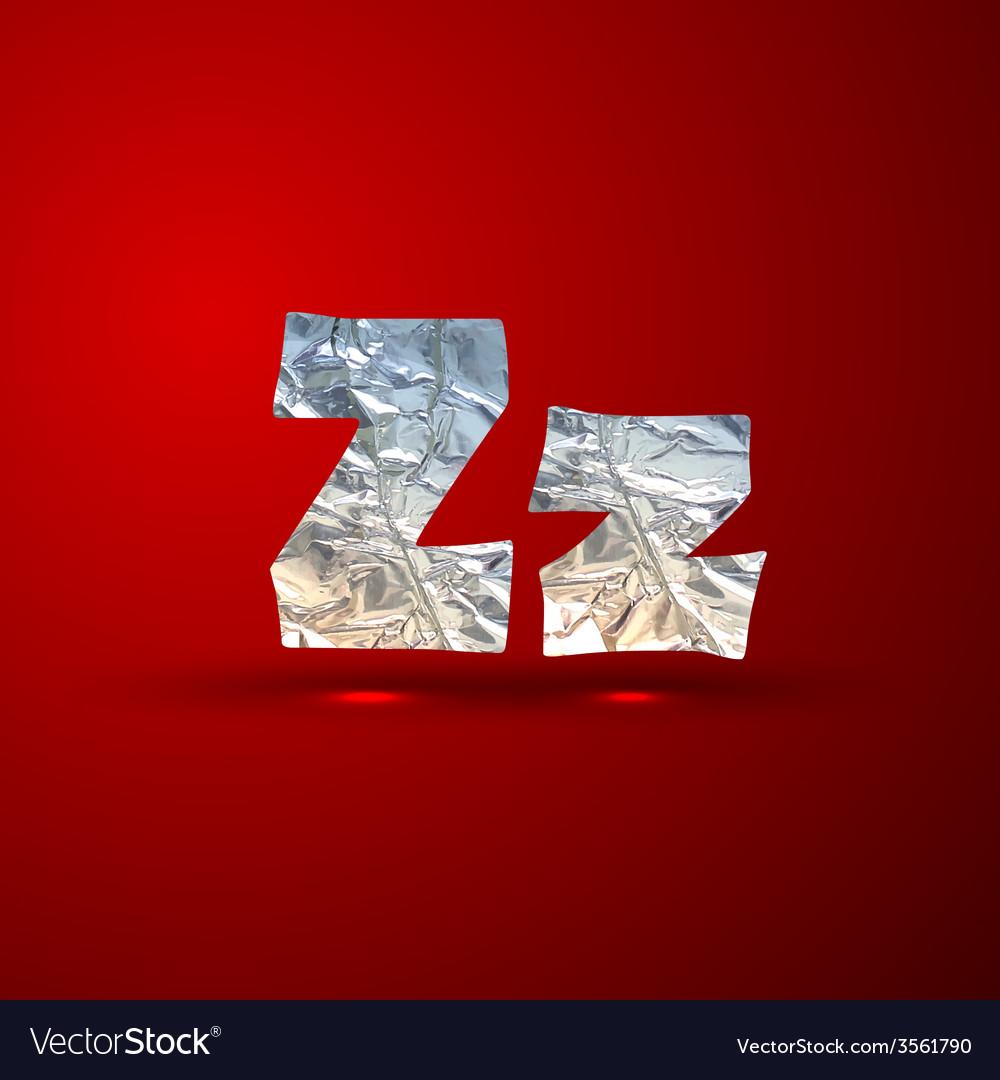 Set of aluminum or silver foil letters letter z vector | Price: 1 Credit (USD $1)