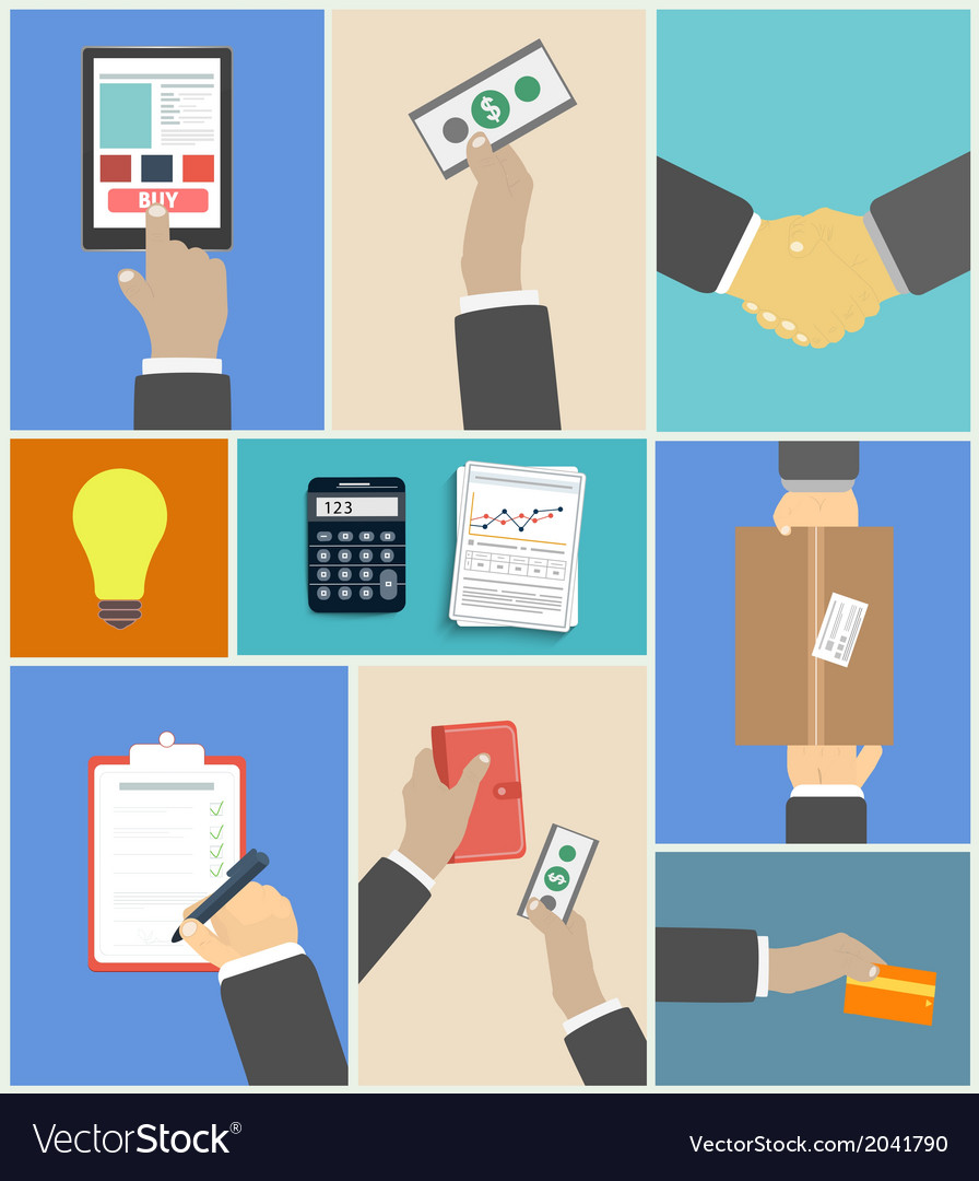 Set of business hands action concepts vector | Price: 1 Credit (USD $1)