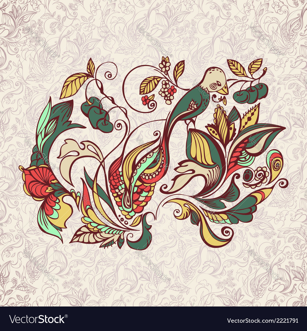 Abstract floral pattern with bird vector   Price: 1 Credit (USD $1)